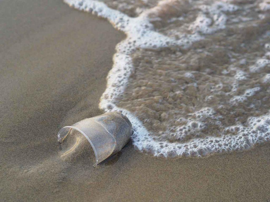 Plastkopp skylles inn på stranda