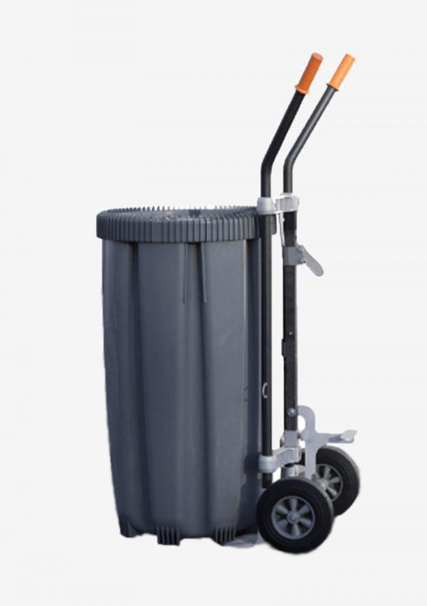 Fattralle med avfallsbeholderen på grå bakgrunnn