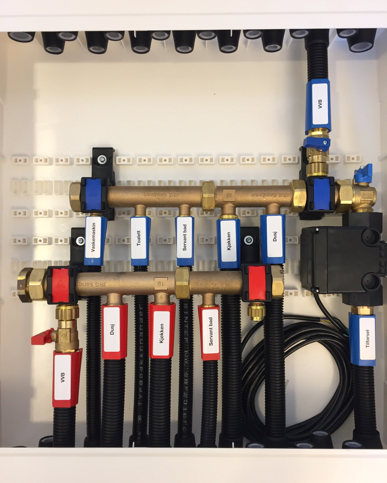 Inside a manifold cabinet, mounted correctly