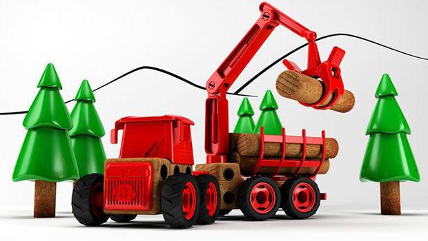 """Leketraktoren """"Beljo Toys"""" illustrert med trær"""